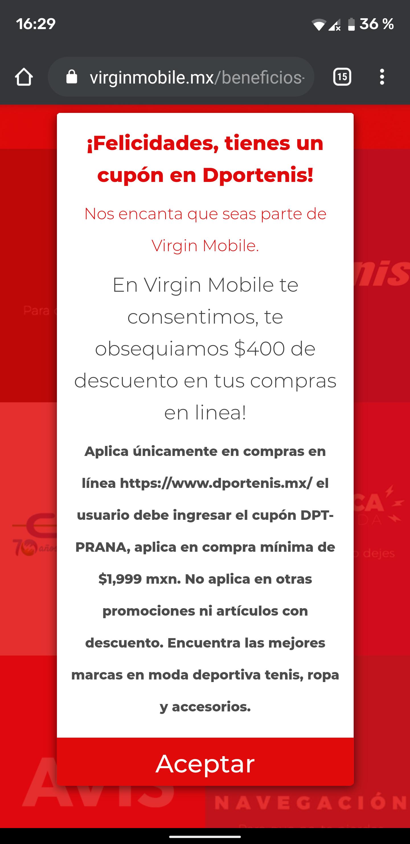 Dportenis: -400 de descuento en deportenis.com con virgin mobile en compras mínimas de $2,000