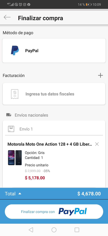 Linio: Motorola one action (pagando con Paypal)