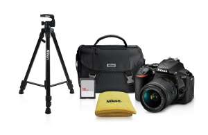 Best Buy: Nikon - Cámara digital D5600 - Lente 18-55mm VR - Tripíe - Mochila - SD16GB - Negro