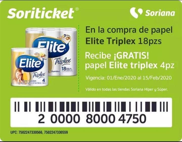 Soriana Soriticket: Gratis paquete de papel elite en la compra de un paquete elite triplex 18 rollos