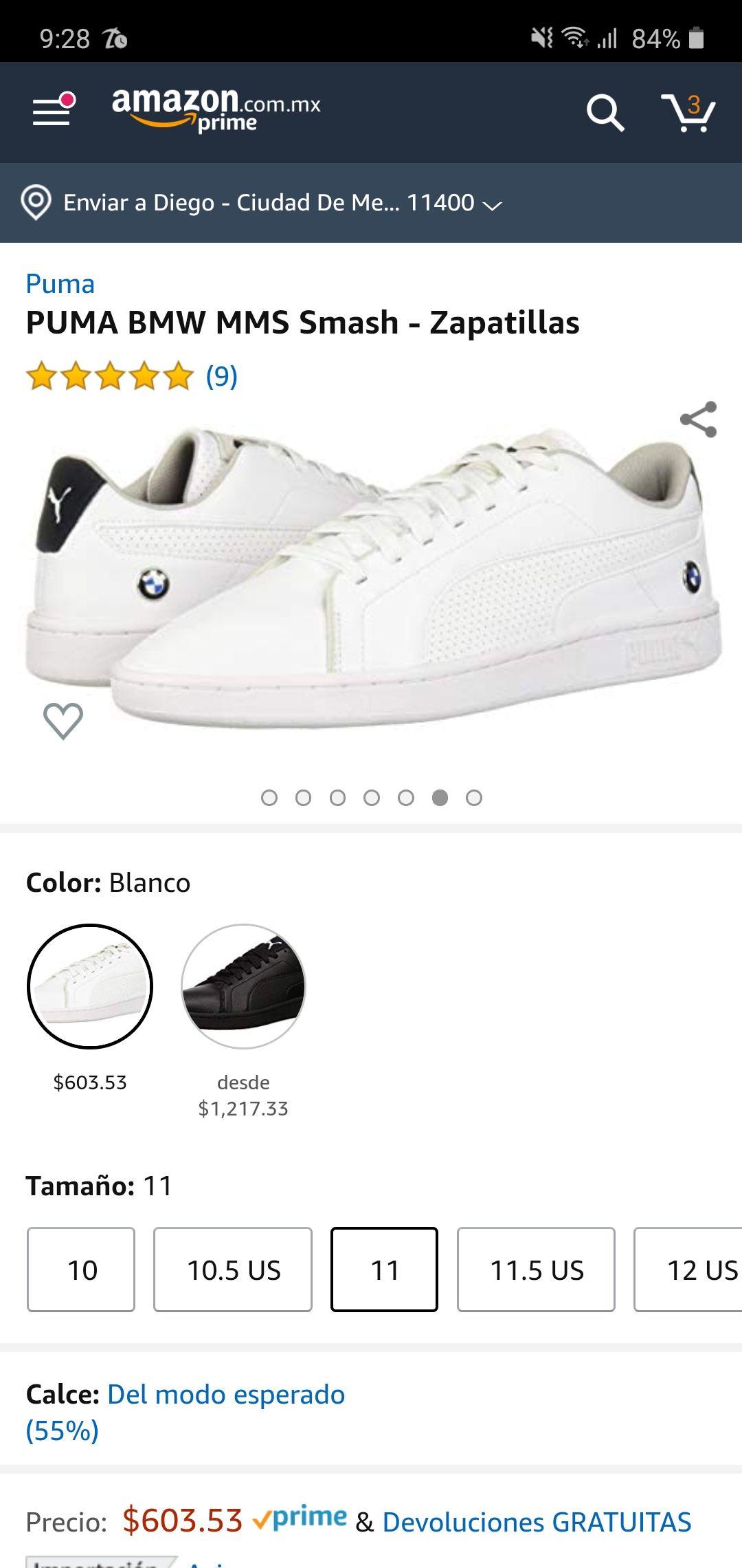 Amazon tenis Puma BMW blancos talla 9 México aplica prime