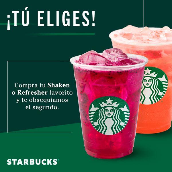 Starbucks: 2x1 en Shaken o Refresher (¡Todo El Año!)