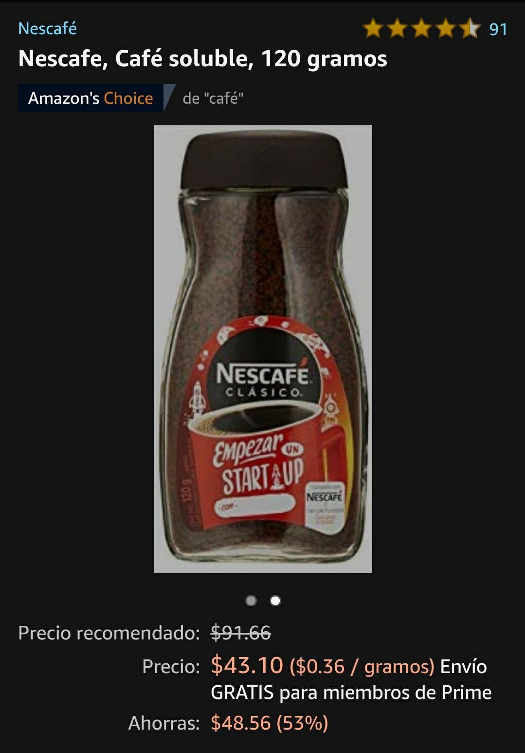Amazon Nescafe 120 gramos a 39 pesitos