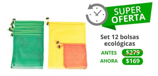 Peixe (Groupon): Kit de 12 bolsas ecológicas reutilizables $169