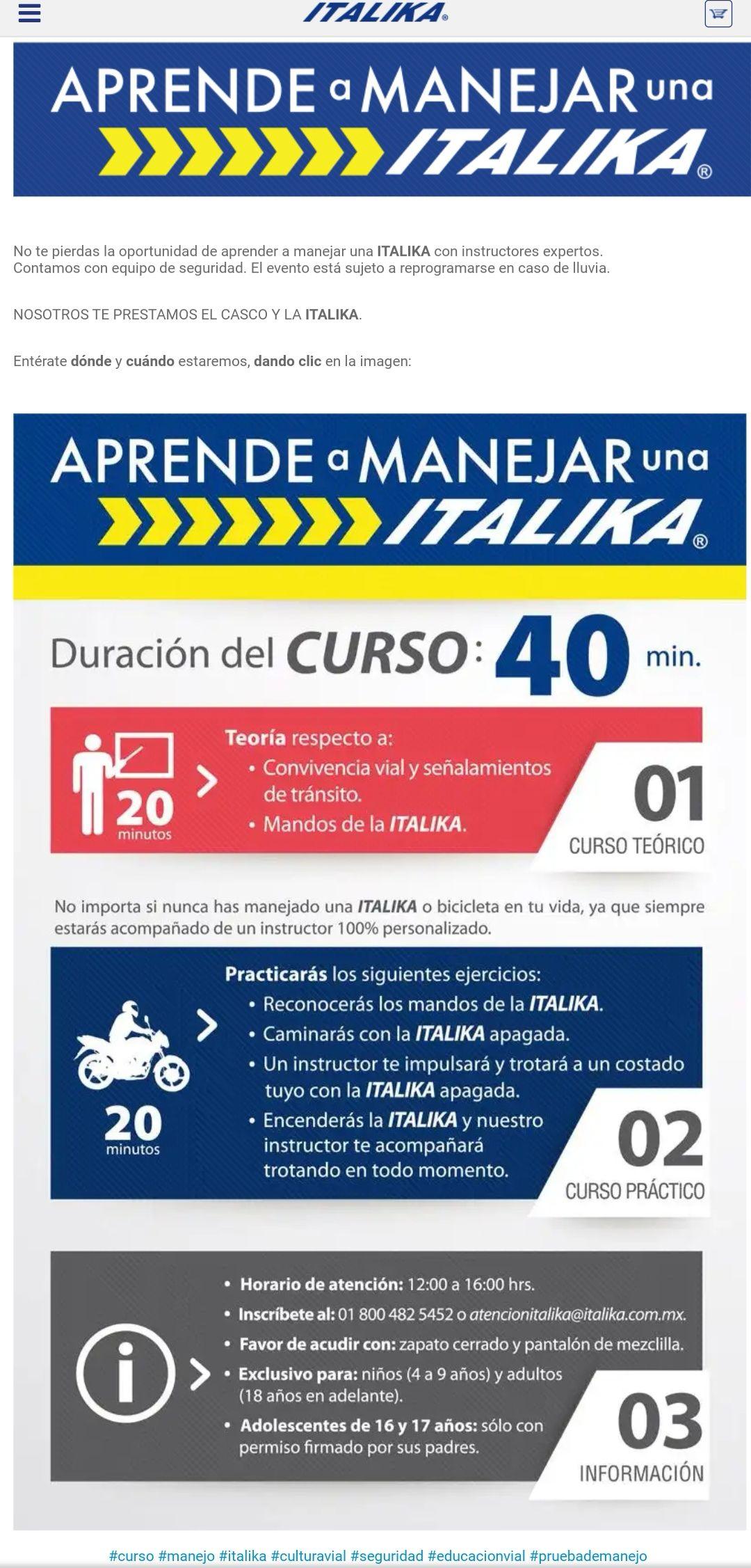 Curso manejo de motocicleta Italika