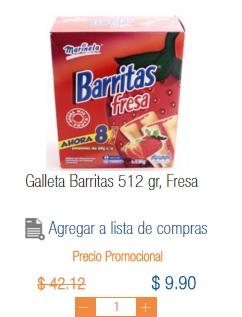 Chedraui Mina Villahermosa: Barritas Marinela sabor fresa y piña a $9.90