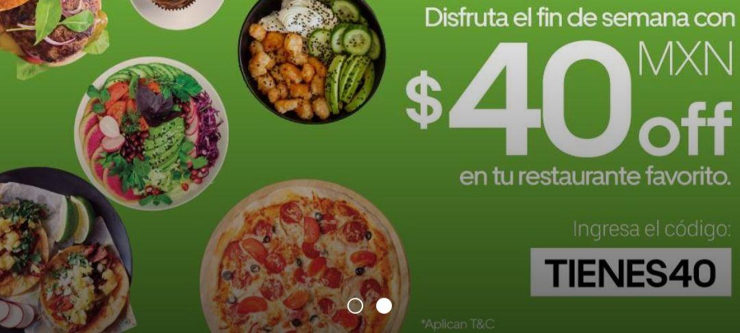 Uber eats: $40 de descuento en compra mínima de $150