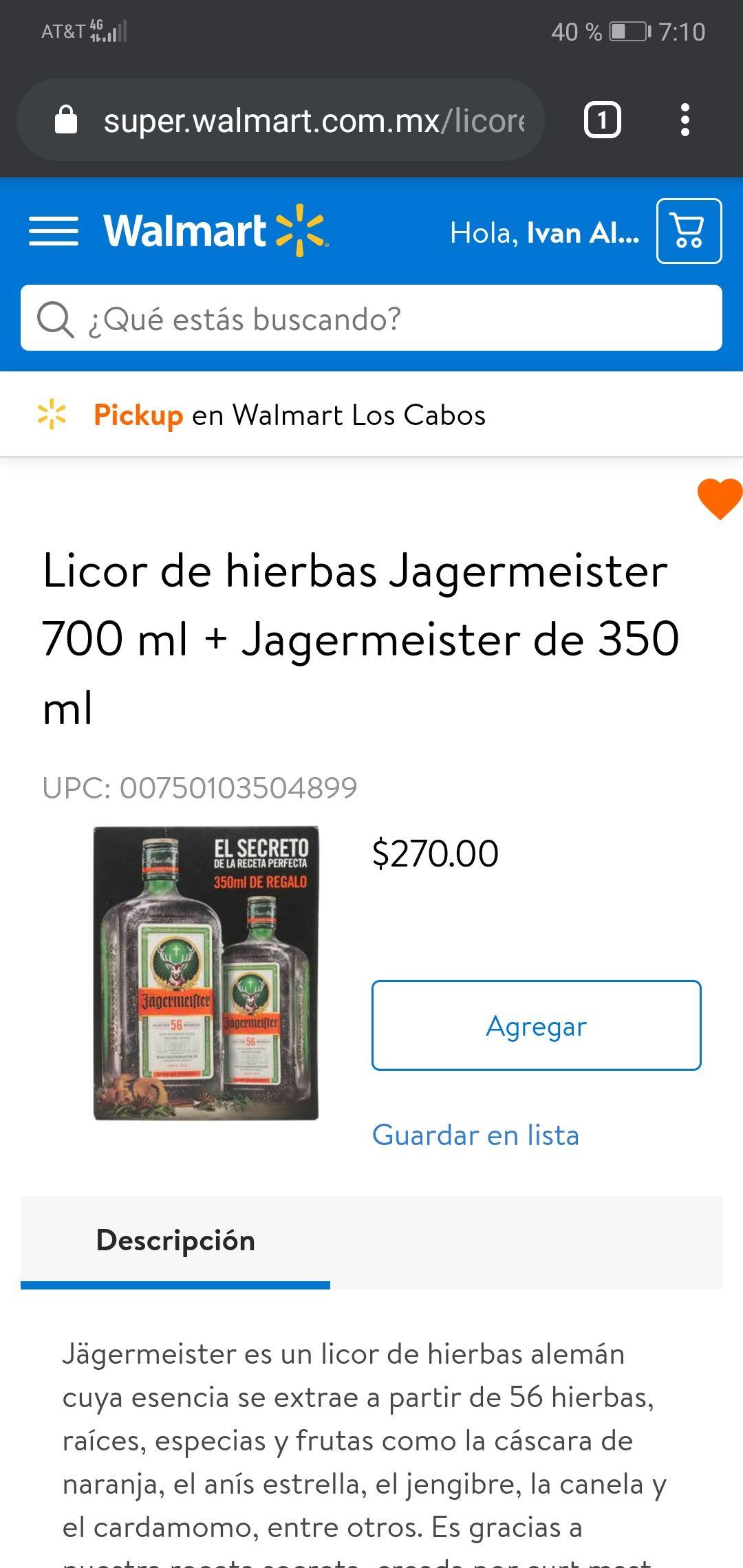Walmart Súper: Licor de hierbas Jagermeister 700 ml + Jagermeister de 350 ml