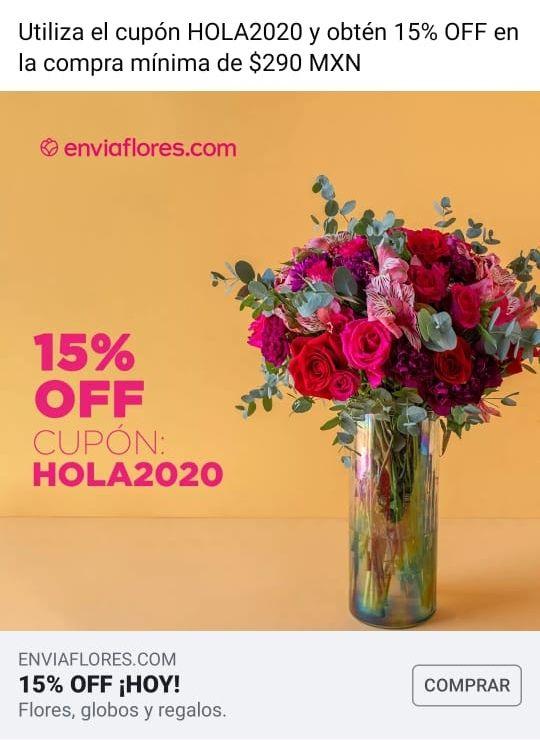 Envía Flores: 15% DE DESCUENTO EN COMPRA MÍNIMA DE 250