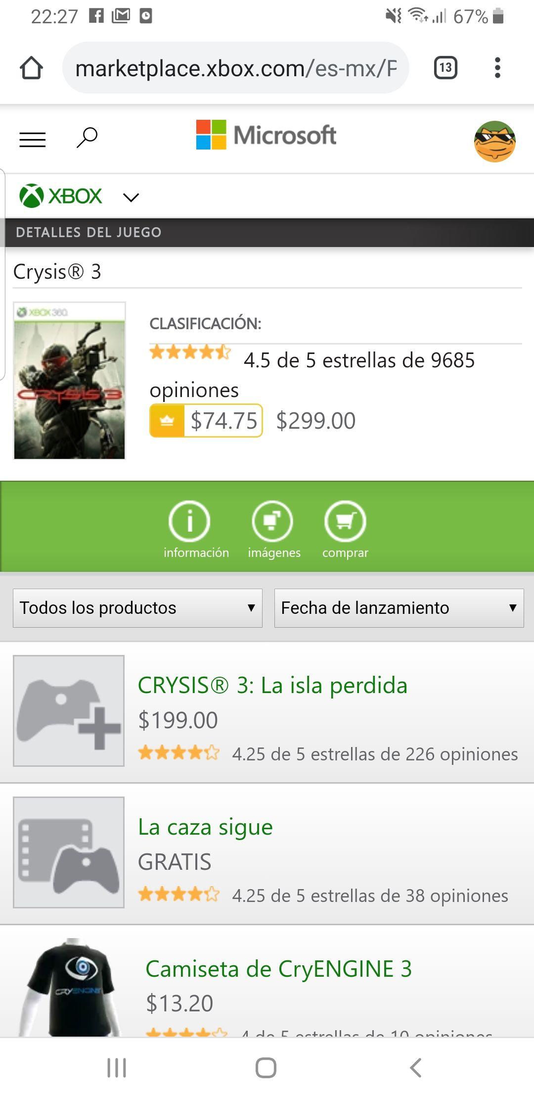 Microsoft Store: Crysis 3 en 75 pesos. Juego retrocompatible.