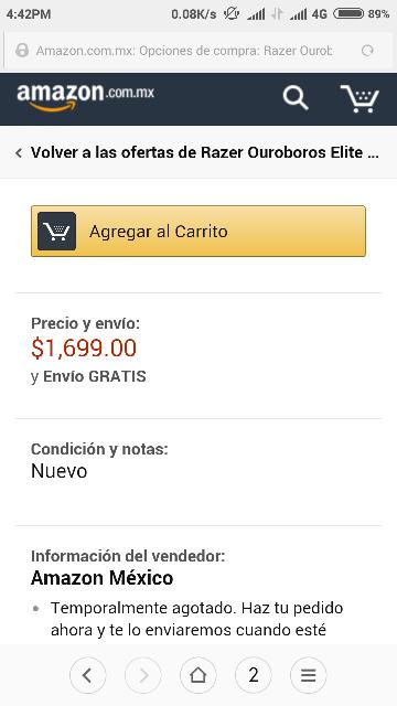 Amazon México: Razer ouroboros a $1,699