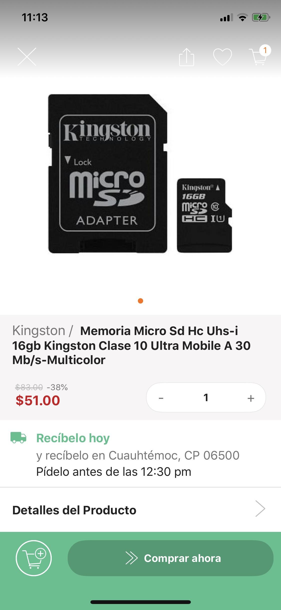 Linio Micro SD kington 16 gb