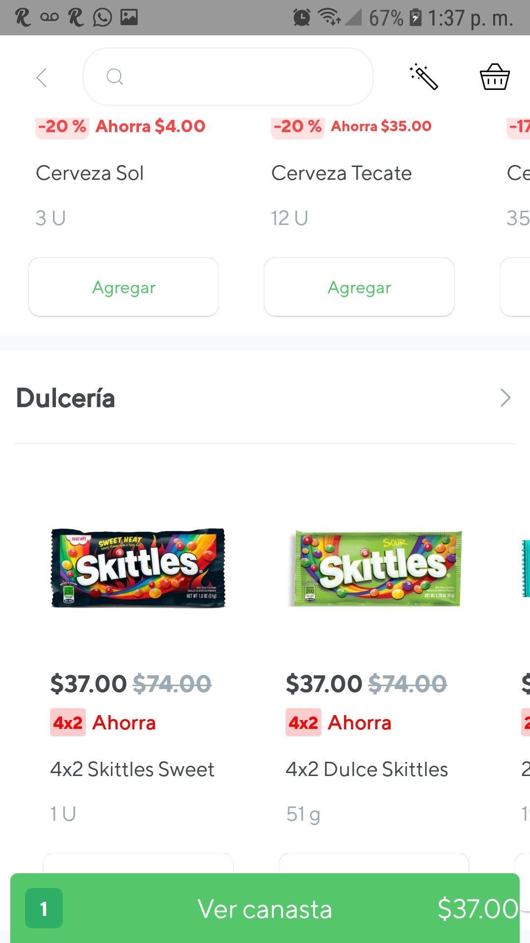 Rappi app: 4x2 en skittles