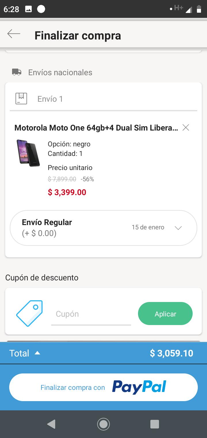 Linio Moto One 4+64 (pagando con PayPal)
