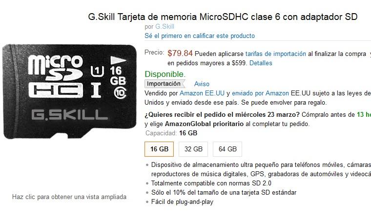 Amazon: G.Skill MicroSD Clase 6 a $80