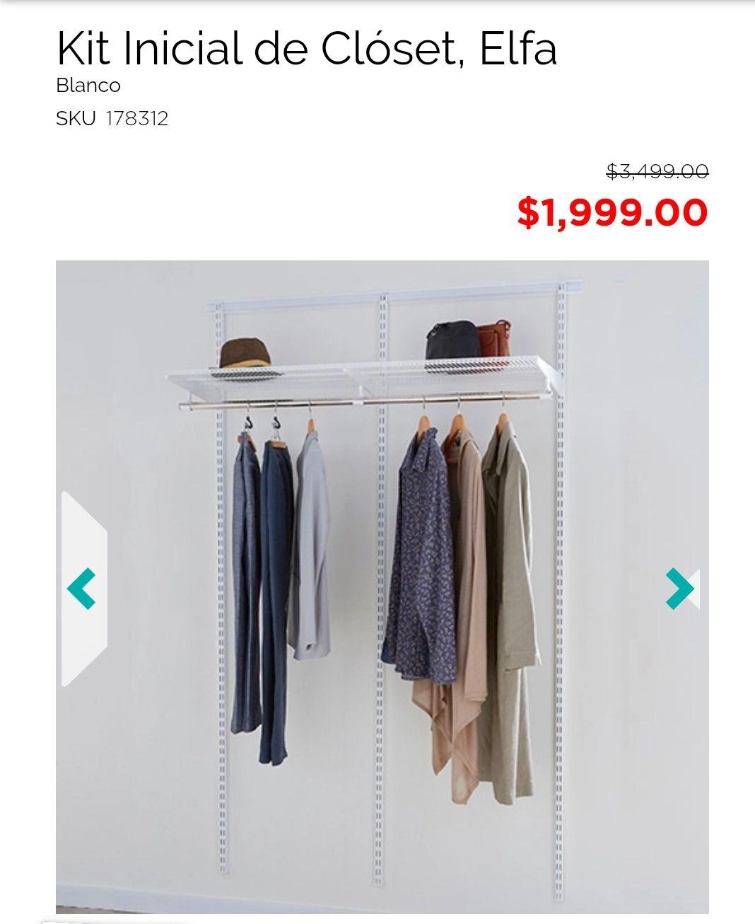 The Home Store: KIT INICIAL Elfa a $1,500 en tienda ( solo quedan 2 sucursal Galerias en Zapopan)