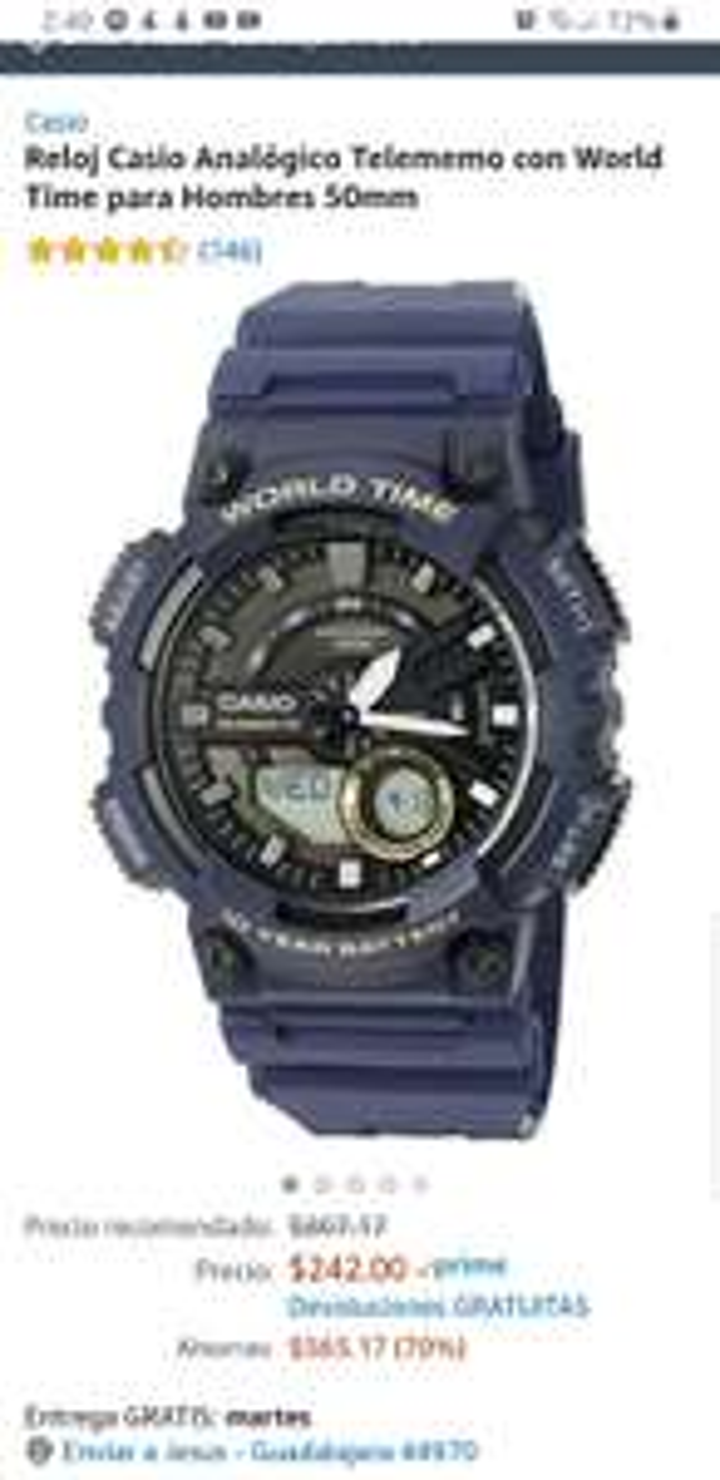 Amazon: Reloj Casio Analógico Telememo con World Time para Hombres 50mm