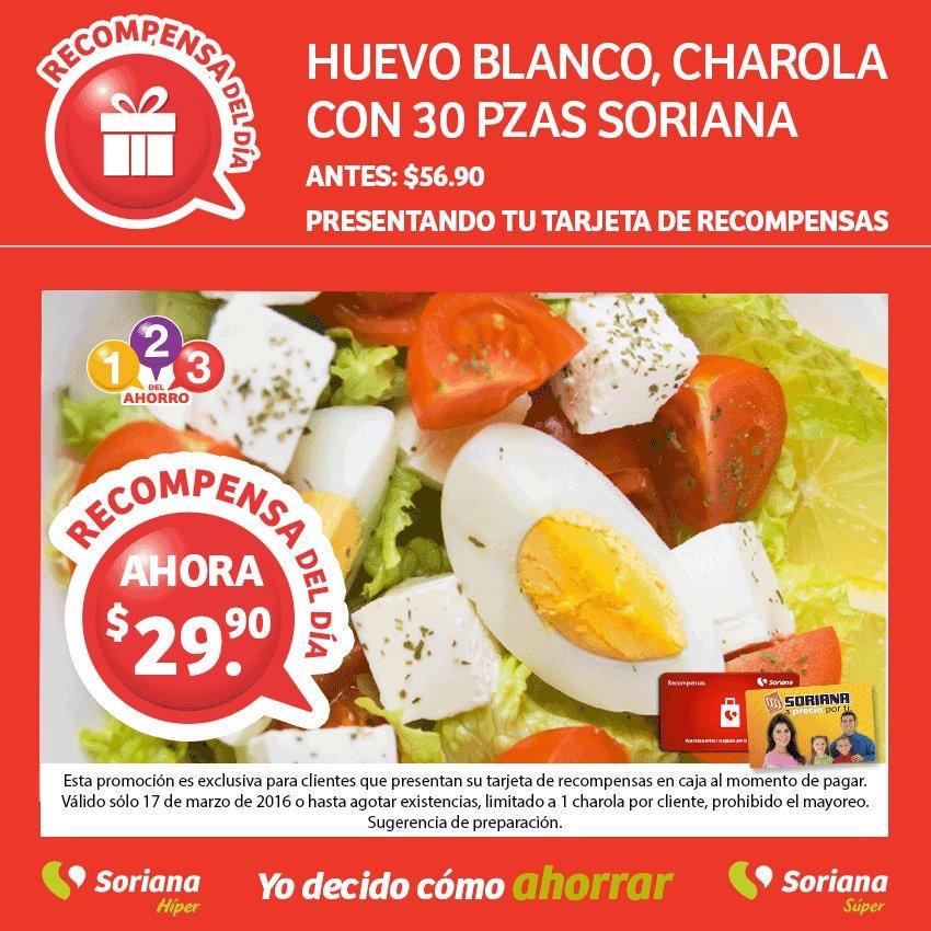 Soriana: charola de huevo blanco, 30 piezas a $30 solo 17 de marzo