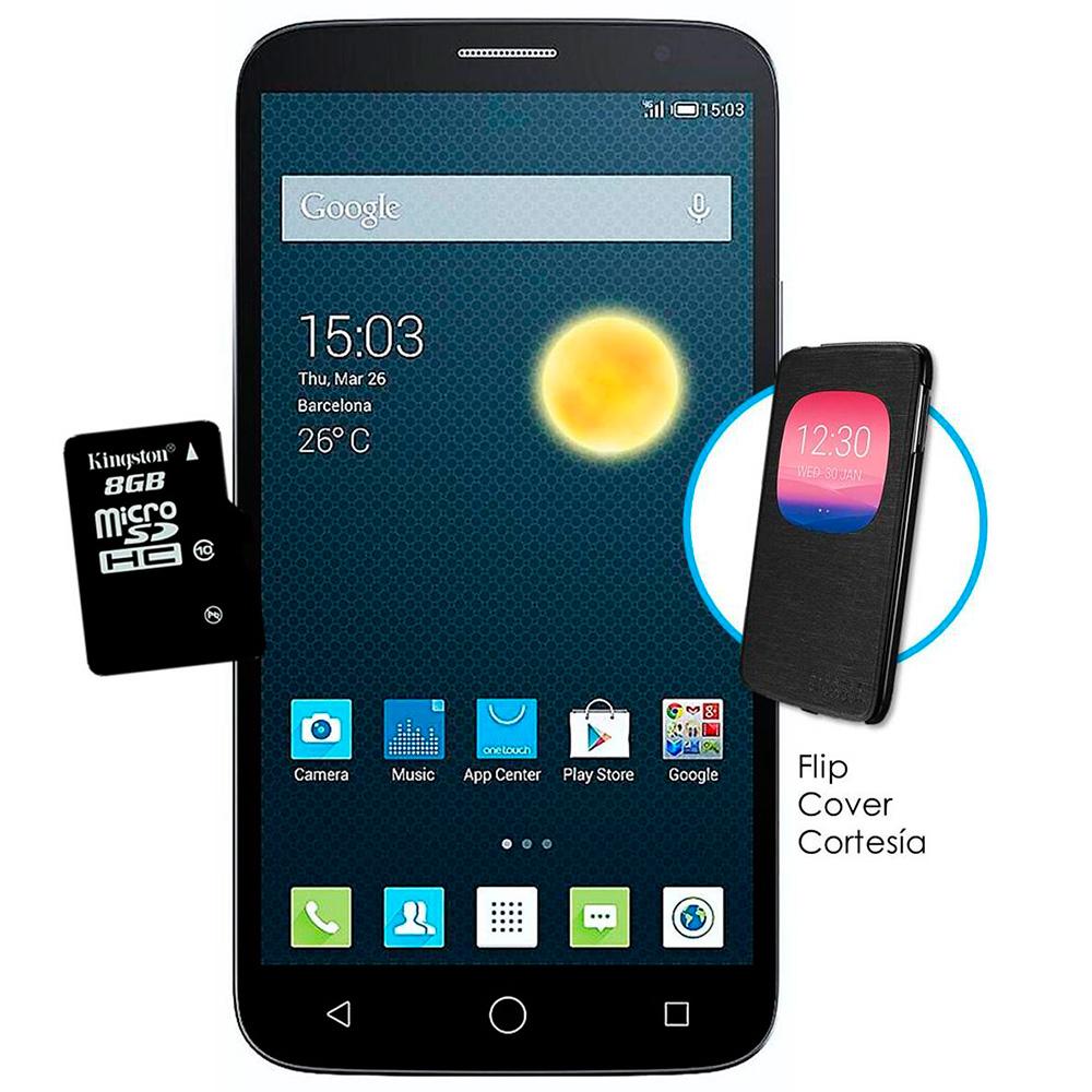 Walmart en línea: Alcatel One Touch Hero 2C Negro 16GB 4G LTE Desbloqueado incluye Flip Cover y Memoria MicroSD 8GB