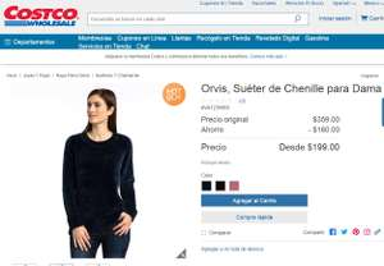 Costco: Suéter de Chenille para dama marca Orvis