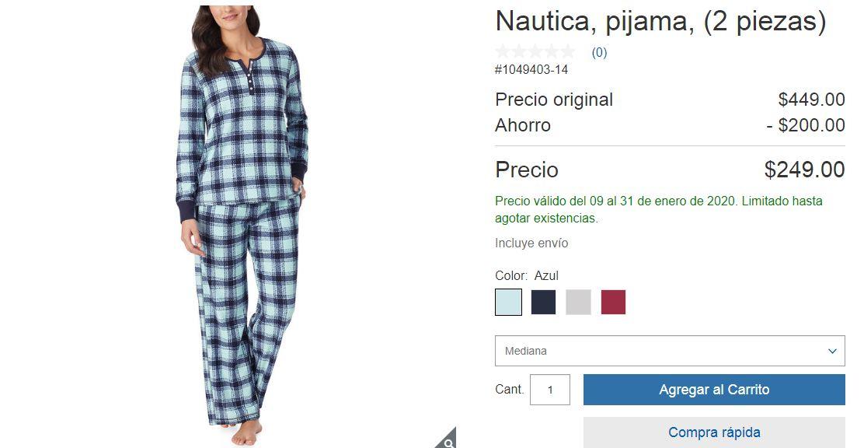 Costco: Pijama Nautica de 2 Piezas Para Dama