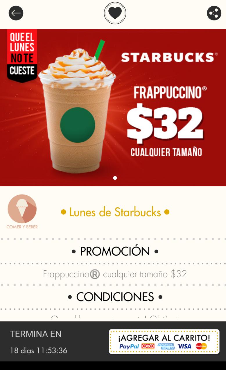 Cuponera App: Lunes de Starbucks, frappe, latte o Capuccino y macchiato
