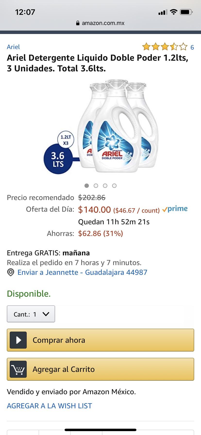 Amazon: Ariel 3.6 Lts.