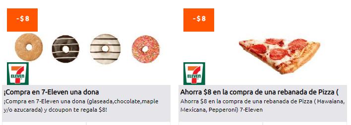 7-ELEVEN/ DCOUPON: PIZZA Y DONAS -$8 DE DESCUENTO y más