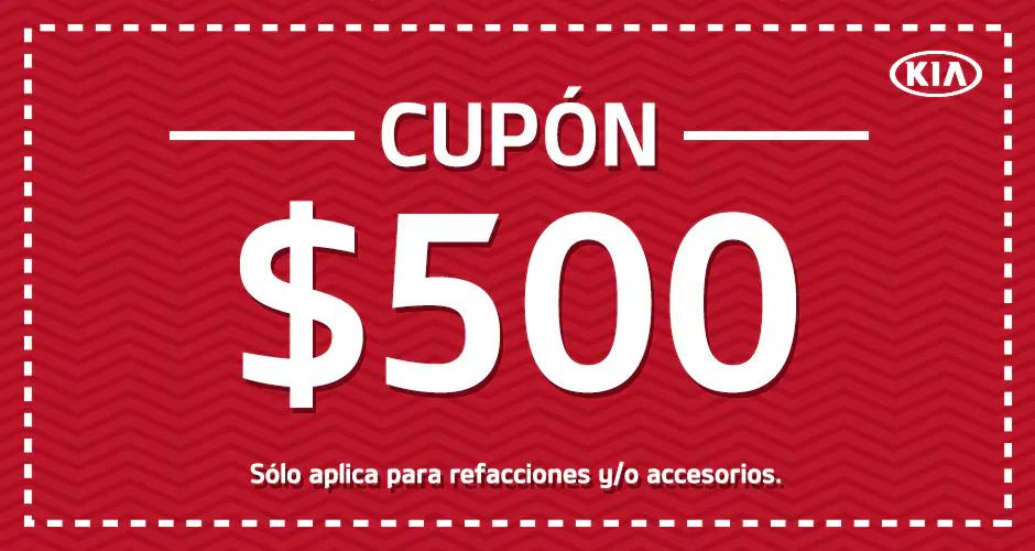 KIA: Campaña Lealtad Cupon $500 para accesorios o refacciones