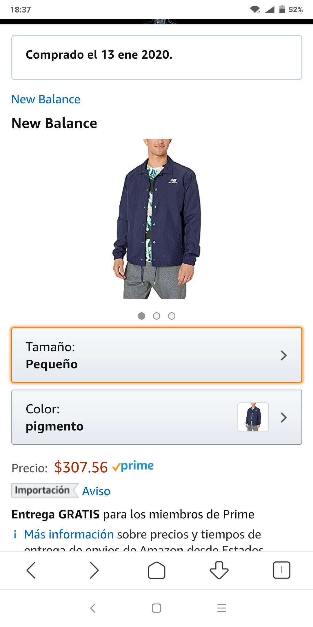 Amazon: Chamarra new balance, talla chica