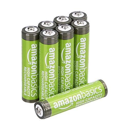 Amazon: Baterías Recargables AAA Amazon Basics, 8 de Alta Capacidad precargadas, 500 ciclos