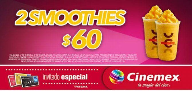 Cinemex: 2 Smoothies con tarjeta de invitado