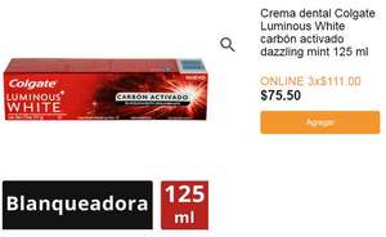 Superama en línea: Colgate Luminous white carbon 3 por 111!!!