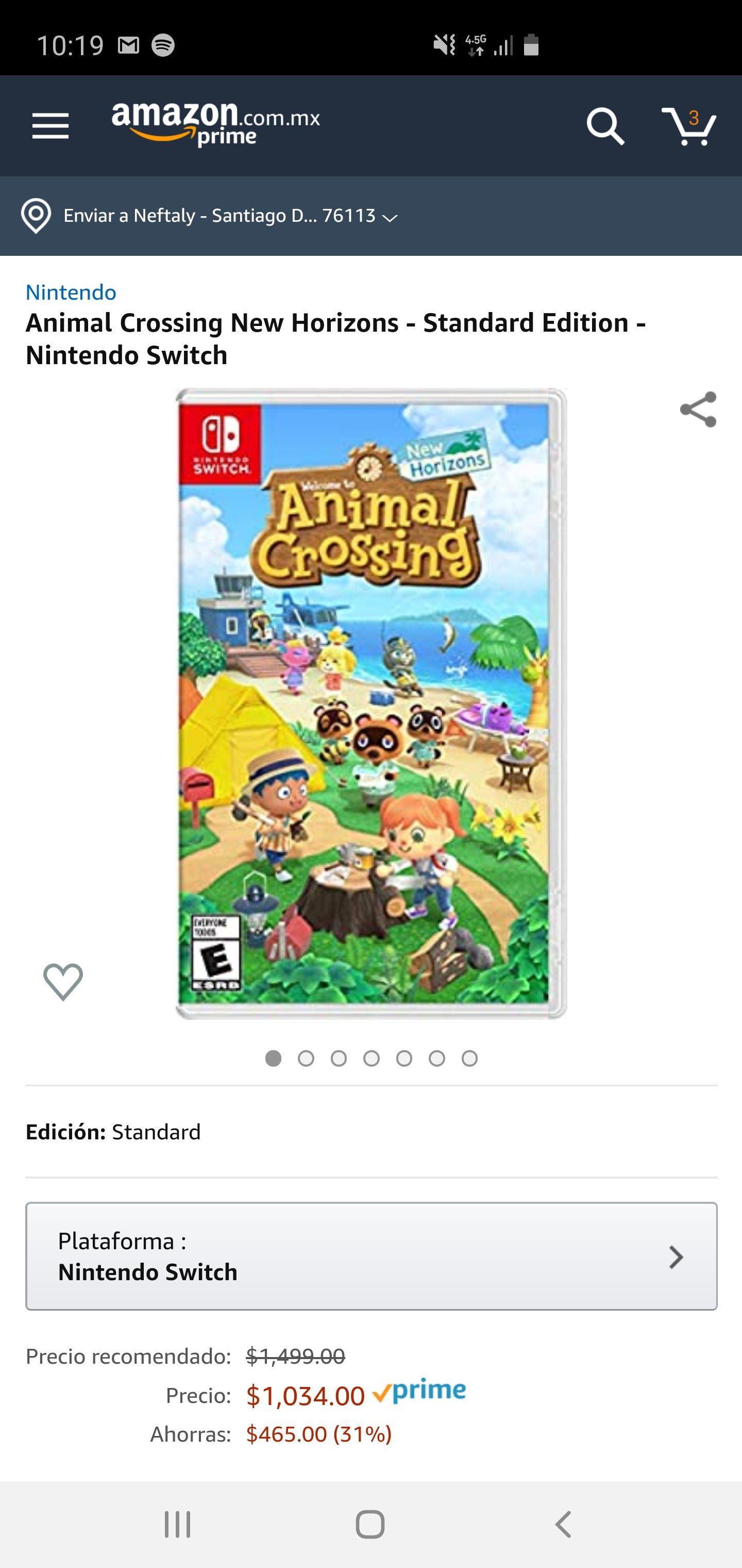 Amazon Animal Crossing New Horizons - Standard Edition - Nintendo Switch