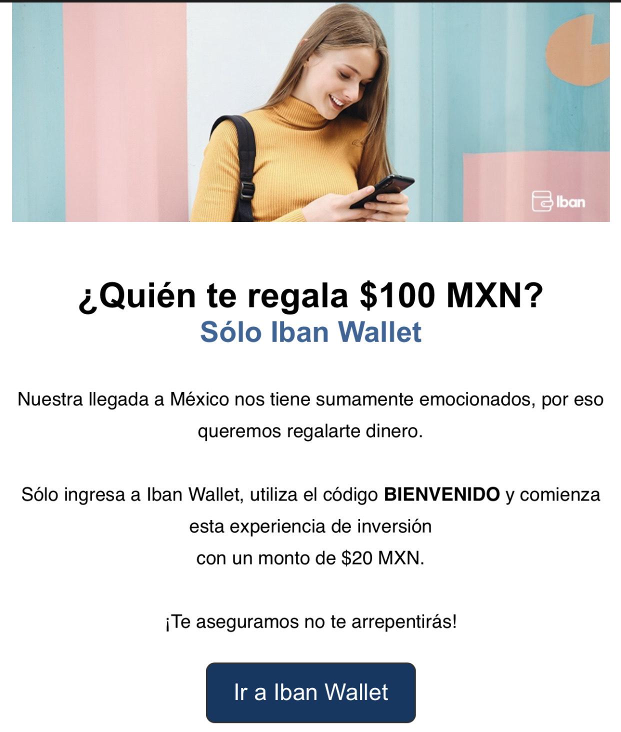 Iban Wallet: $100 Gratis Depositando $20