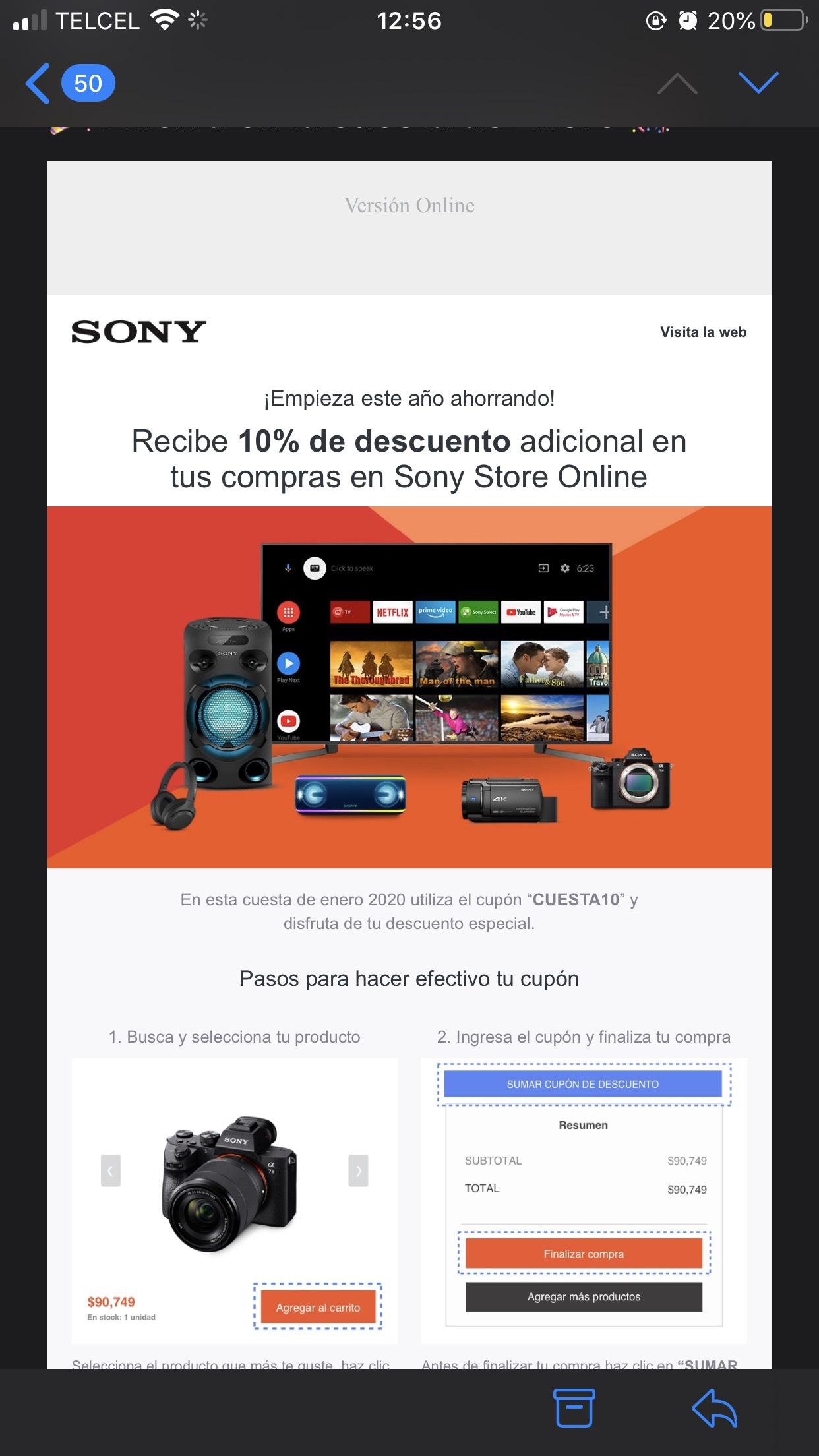 Sony Store: 10% de descuento sobre lo ya rebajado