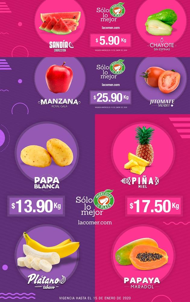 La Comer: Miércoles de Plaza 15 Enero: Sandía ó Chayote $5.90 kg... Jitomate ó Manzana Gala $25.90 kg.