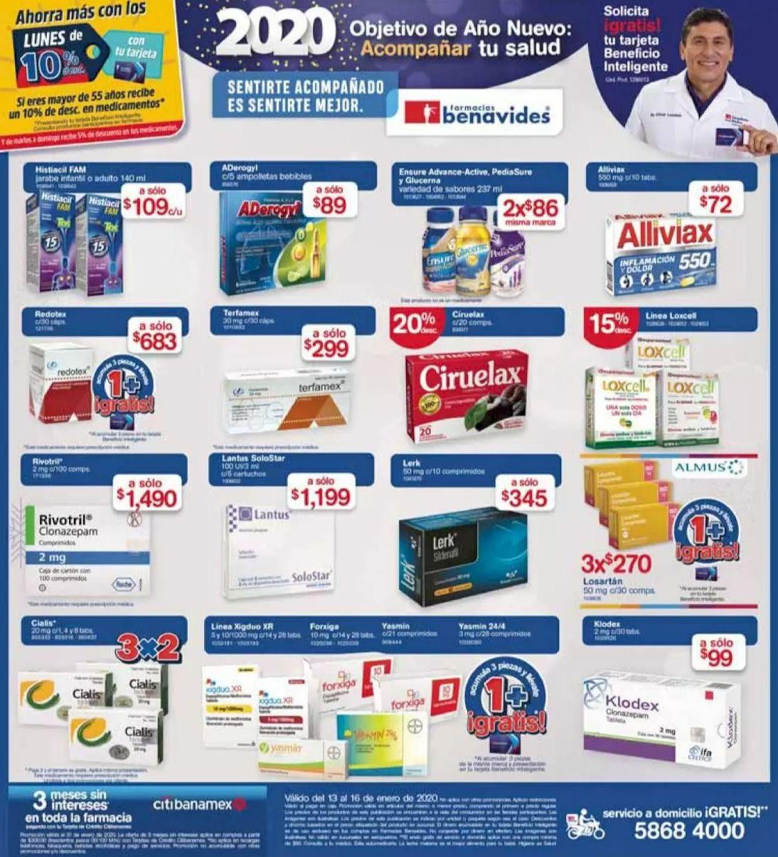 Farmacias Benavides: Ofertas vigentes al Jueves 16 de Enero