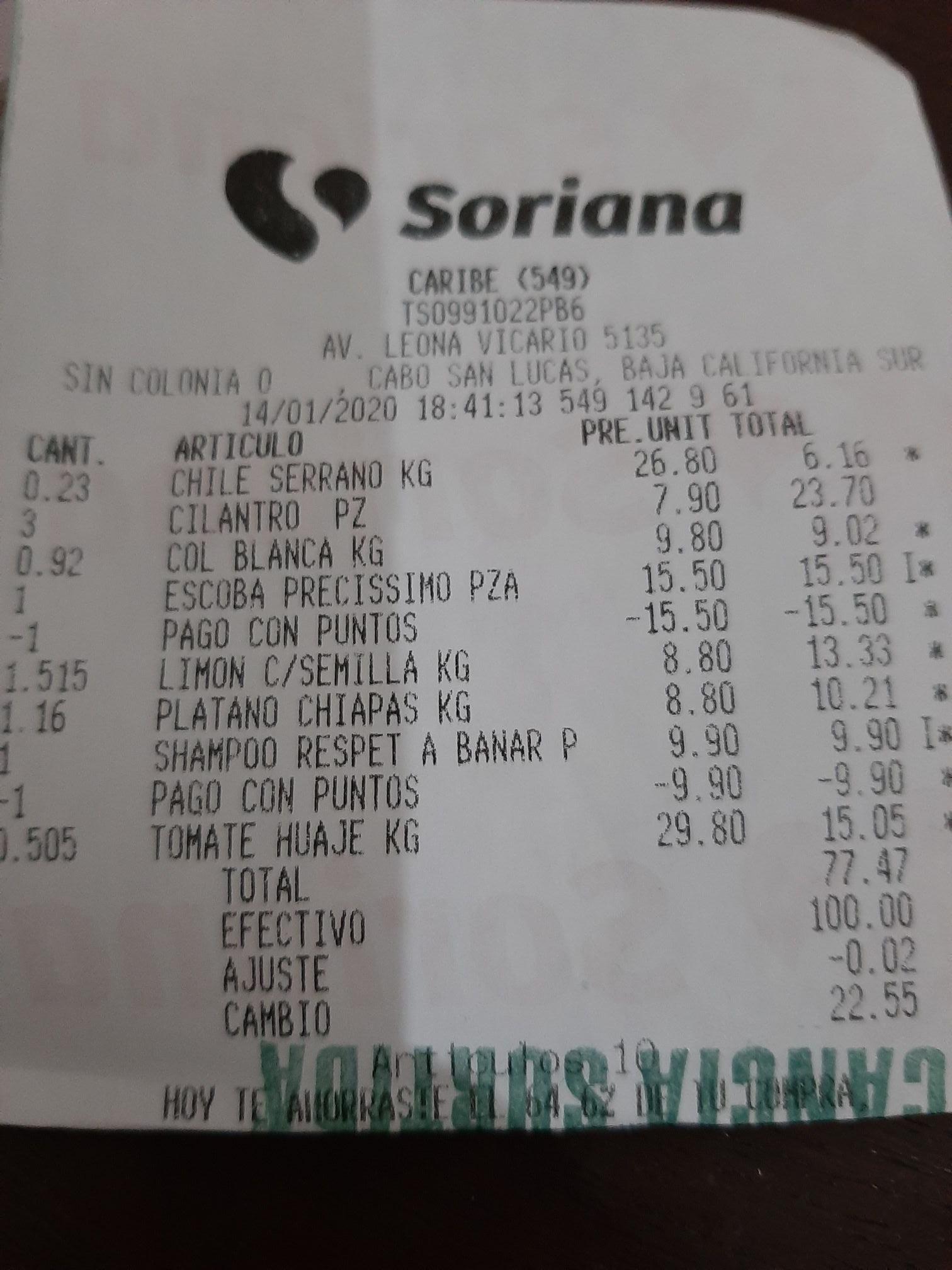 Soriana: Escoba precissimo, de 15 a gratis con 90 puntos