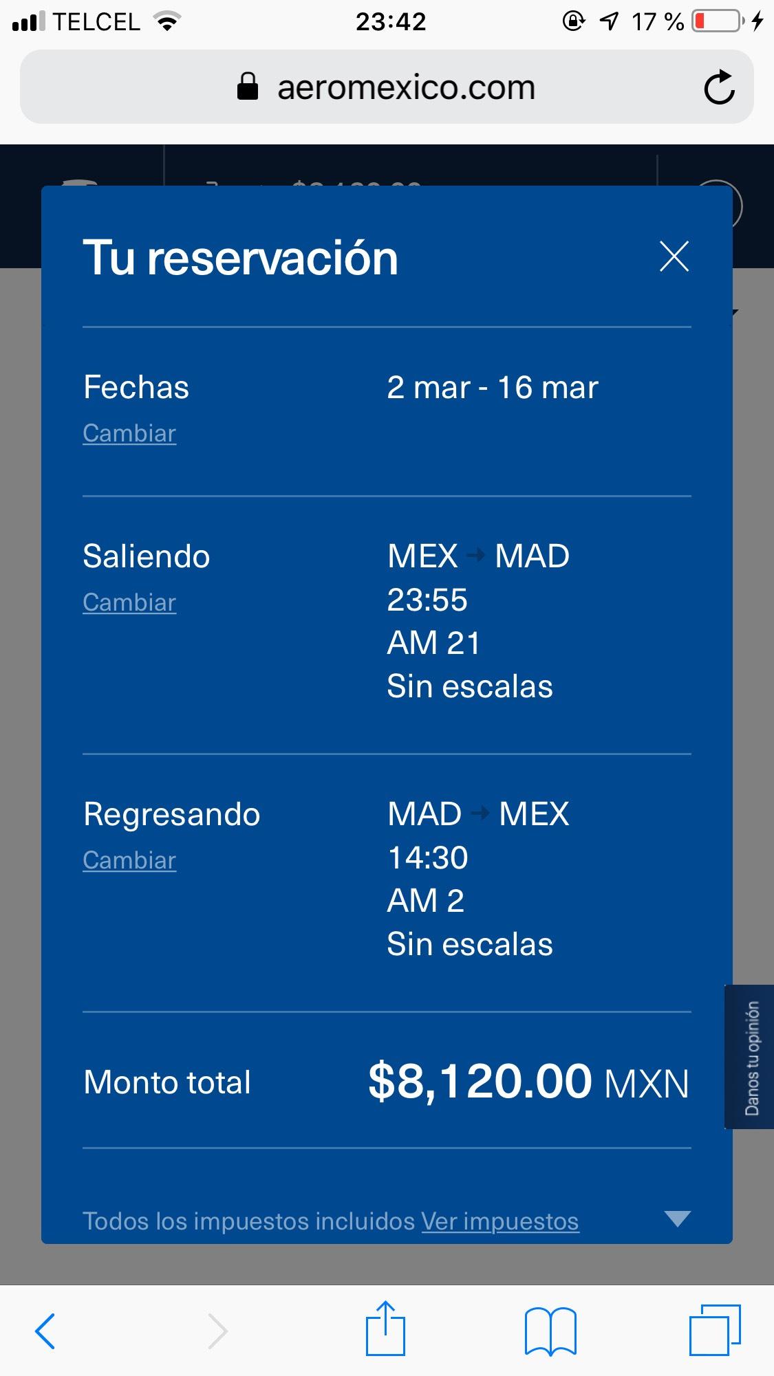 Vuelo redondo Directo CD Mex - Madrid Marzo Aeroméxico