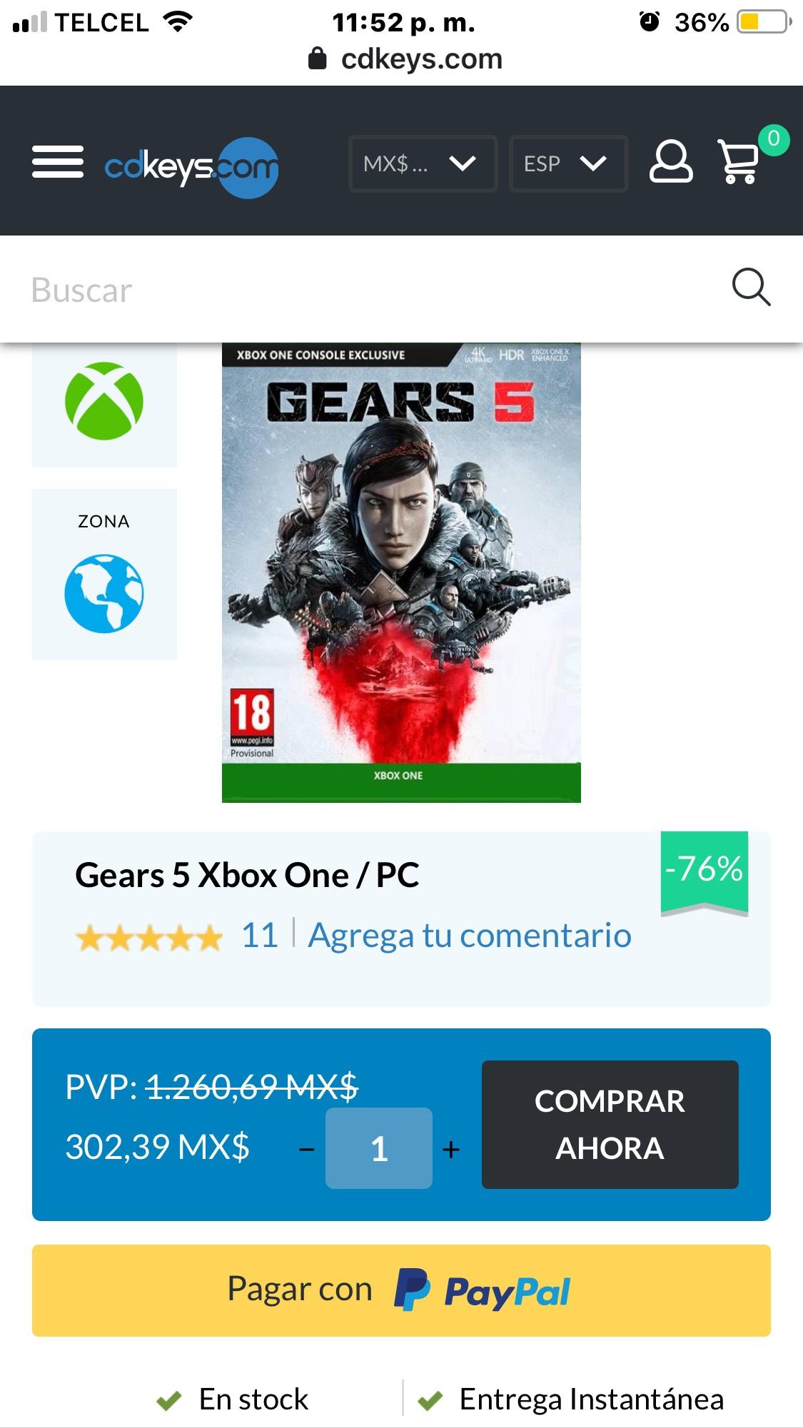 Cdkeys: Gears 5 Xbox one/ Pc