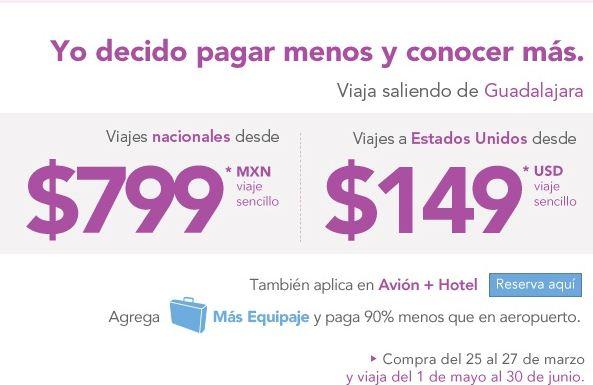 Volaris: viajes nacionales desde $799 y a EUA desde $149 dólares saliendo de GDL