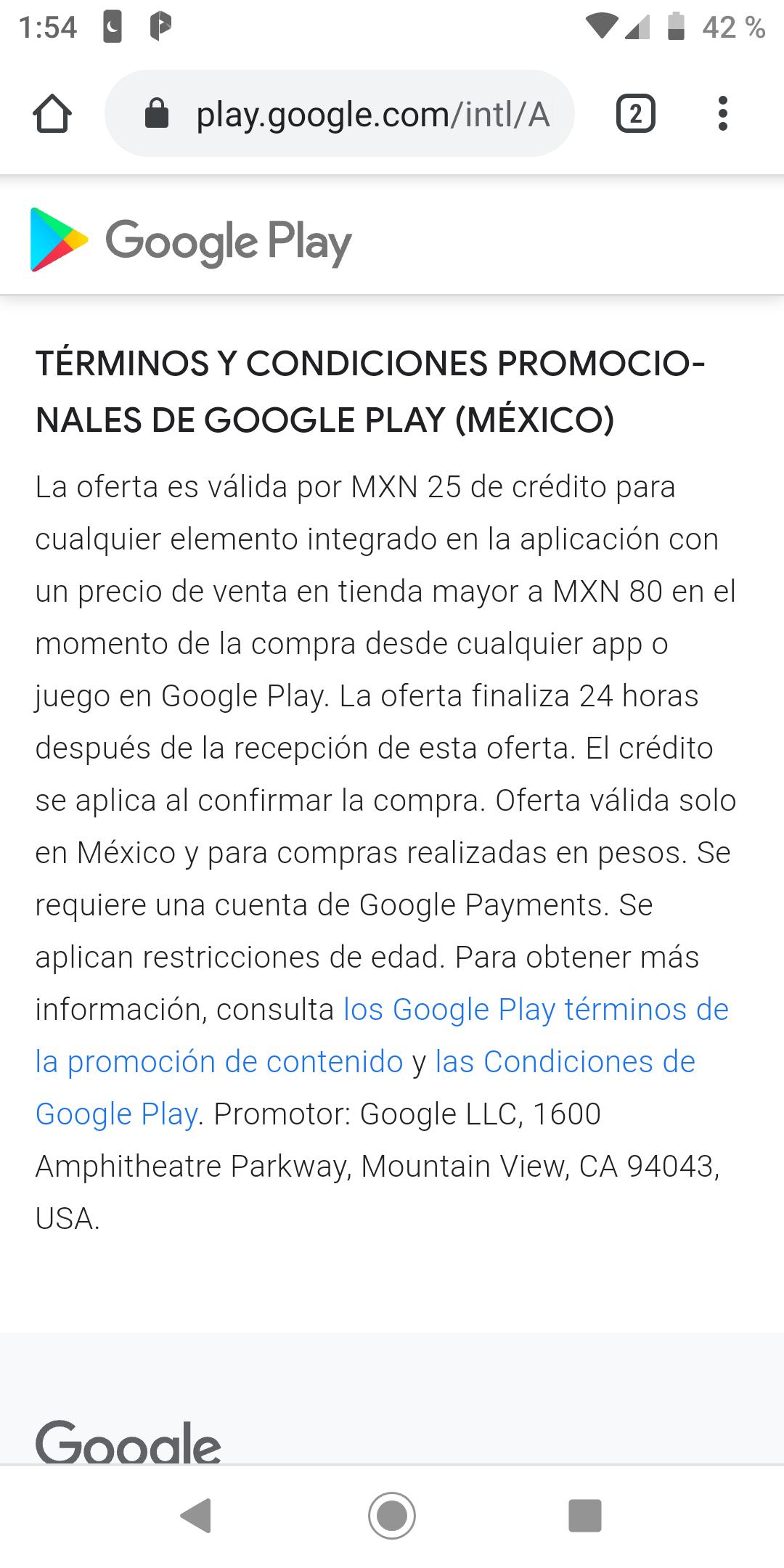 Google playcompra de un artículo de 80 te regresan 25