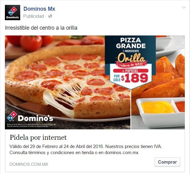 Domino's Pizza: Pizza Grande Orilla Rellena de Queso 1 Ing. + Papotas