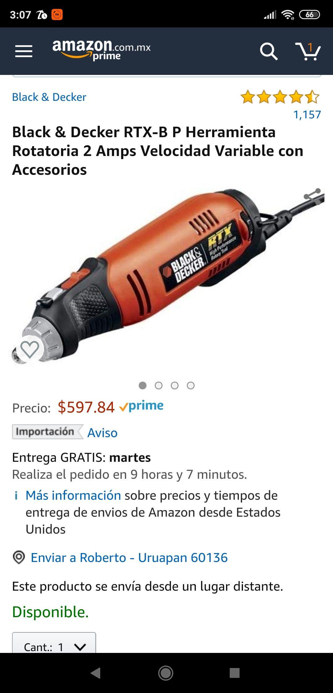 Amazon: Black & Decker RTX-B P Herramienta Rotatoria 2 Amps PRIME