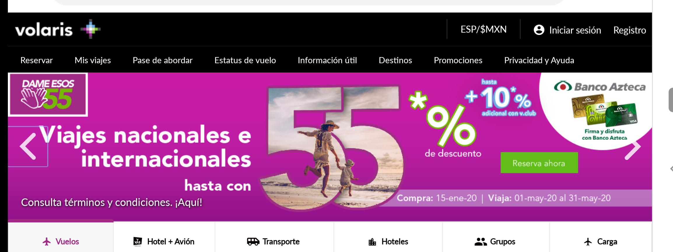 Volaris y banco azteca hasta 55%