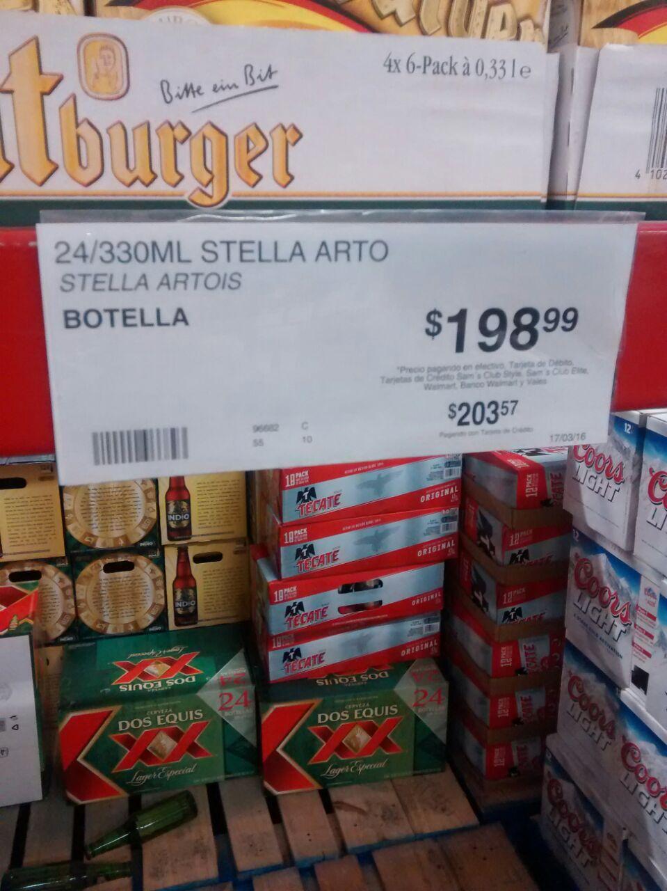 Sam's Club: Cerveza Stella Artois, 24 botellas por $198.99. Barril Heineken 5 lt. $225.00