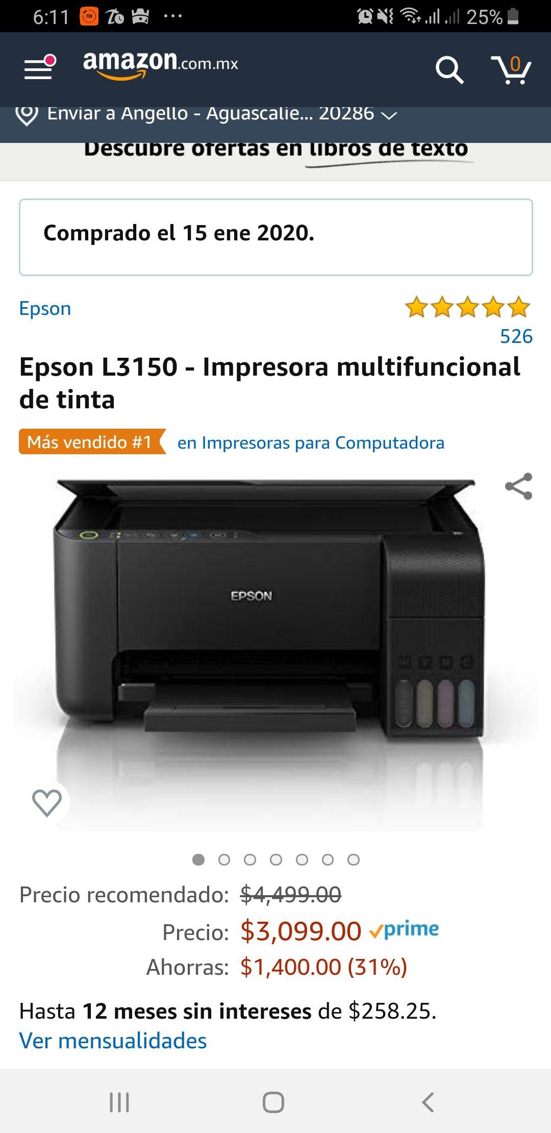 Amazon: Impresora Epson L3150