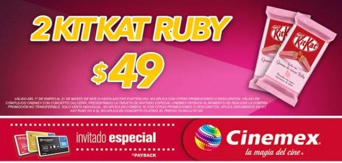 Cinemex: 2 Kitkat Ruby por $ 49 con Invitado Especial
