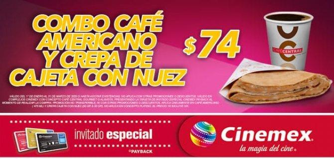 Cinemex: Combo Café americano + Crepa cajeta con nuez por $ 74 con IE